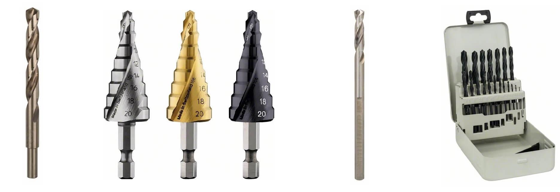 Vrtáky do kovu HSS-Co, stupňovité vrtáky HSS TiN-4, středicí vrták HSS-G, sada vrtáků HSS-R v kovové kazetě