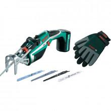 Akumulátorová zahradní pilka BOSCH Keo set + rukavice XL