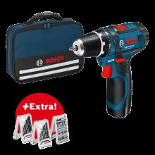 Bosch GSR 12V-15 + taška, sada bitů a vrtáků