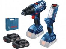Bosch GSR 180-LI + 2x aku 18V/1.5Ah +  GLI 18V-300