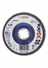 Bosch Tarcze listkowe z systemem X-LOCK, wersja prosta, płyta z tworzywa, Ø 115mm, G 120, X571, Best for Metal, 1 szt.