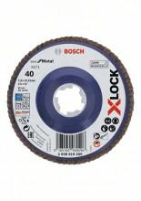 Bosch Tarcze listkowe z systemem X-LOCK, wersja prosta, płyta z tworzywa, Ø 115mm, G 40, X571, Best for Metal, 1 szt.