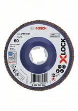 Bosch Tarcze listkowe z systemem X-LOCK, wersja prosta, płyta z tworzywa sztucznego, Ø 115 mm, G 60, X571, Best for Metal, 1 szt.