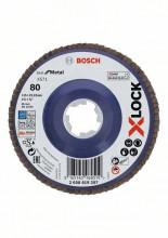 Bosch Tarcze listkowe z systemem X-LOCK, wersja prosta, płyta z tworzywa sztucznego, Ø 115 mm, G 80, X571, Best for Metal, 1 szt.