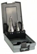 BOSCH 3dílná sada stupňovitých vrtáků HSS-AlTiN - 4-12; 4-20; 6-30 mm