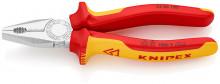 Knipex Kombinované kleště chromované 180 mm, izolované do 1000 V