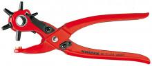 Knipex Revolverové dierovacie kliešte striekané červenou práškovou farbou 220 mm
