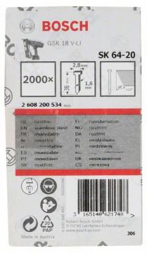 Hřeb se zápustnou hlavou SK64 20NR 38 mm, ušlechtilá ocel BOSCH 2608200534