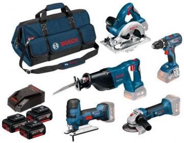 Bosch Profesionálna sada: GSR 18V-28 + GWS 18-125 V-LI + GSA 18 V-LI + GKS 18V-LI + GST 18V-LIS + 3× 18V 4.0Ah + GAL 1860CV + taška na náradie