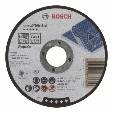 Dělicí kotouč rovný Best for Metal – Rapido A 60 W BF, 115 mm, 1,0 mm BOSCH 2608603512