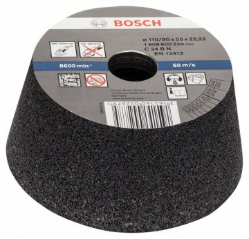 BOSCH Brusný hrnec, kónický - kámen/beton 90 mm, 110 mm, 55 mm, 24, 1608600239