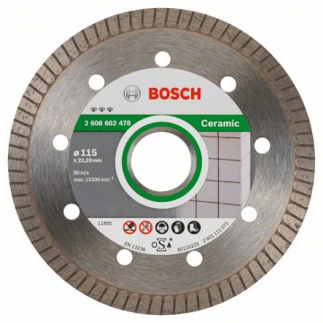 BOSCH Diamantový dělicí kotouč Best for Ceramic Extra-Clean Turbo 115 x 22,23 x 1,4 x 7 mm, 2608602478