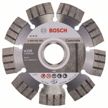 BOSCH Diamantový dělicí kotouč Best for Concrete 115 x 22,23 x 2,2 x 12 mm 2608602651