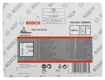 Bosch Hřebíky s hlavou tvaru D v pásu SN34DK 100RHG 3,1 mm, 100 mm, žárově pozinkovaný