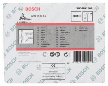 Bosch Hřebíky s hlavou tvaru D v pásu SN34DK 50R 2,8 mm, 50 mm, bez povrchové úpravy, drážkovaný