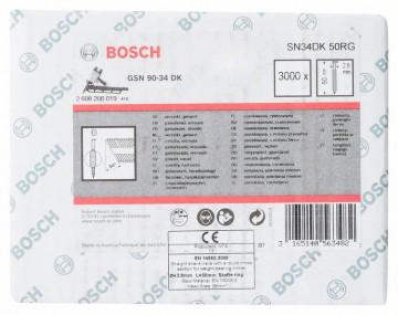Bosch Hřebíky s hlavou tvaru D v pásu SN34DK 50RG 2,8 mm, 50 mm, pozinkovaný, drážkovaný