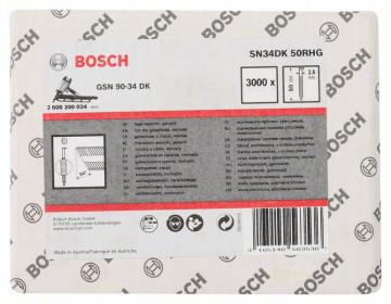 Bosch Hřebíky s hlavou tvaru D v pásu SN34DK 50RHG 2,8 mm, 50 mm, žárově pozinkovaný, drážkovaný