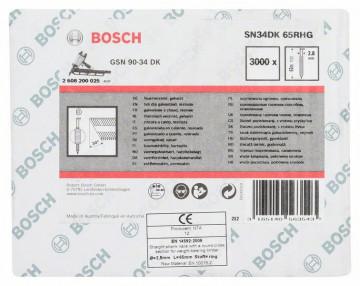 Bosch Hřebíky s hlavou tvaru D v pásu SN34DK 65RHG 2,8 mm, 65 mm, žárově pozinkovaný, drážkovaný