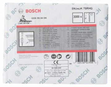 Bosch Hřebíky s hlavou tvaru D v pásu SN34DK 75RHG 2,8 mm, 75 mm, žárově pozinkovaný, drážkovaný