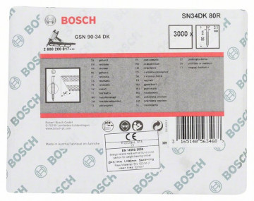 Hřebíky s hlavou tvaru D v pásu SN34DK 80R 3,1 mm, 80 mm, bez povrchové úpravy, drážkovaný BOSCH 2608200017