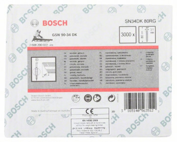 Bosch Hřebíky s hlavou tvaru D v pásu SN34DK 80RG 3,1 mm, 80 mm, pozinkovaný, drážkovaný
