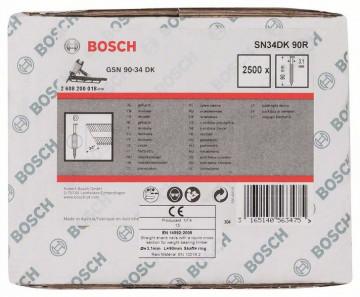 Hřebíky s hlavou tvaru D v pásu SN34DK 90R 3,1 mm, 90 mm, bez povrchové úpravy, drážkovaný BOSCH 2608200018