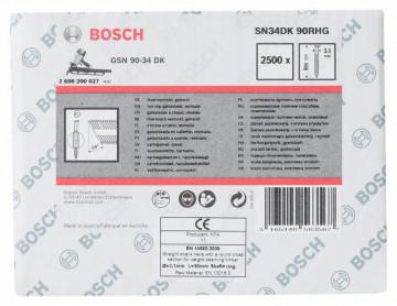 Bosch Hřebíky s hlavou tvaru D v pásu SN34DK 90RHG 3,1 mm, 90 mm, žárově pozinkovaný, drážkovaný