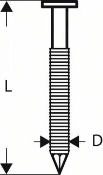 Bosch Hřebíky s kulatou hlavou v pásu SN21RK 65RHG 2,8 mm, 65 mm, žárově pozinkovaný, drážkovaný