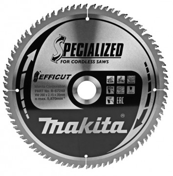Makita TCT pílový kotúč Efficut 260 mm x 30 mm x…