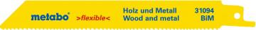 METABO - 2 plátky pro pily ocasky, dřevo a kov, flexible, 150x0,9 mm