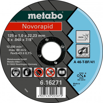 METABO - NOVORAPID 125 X 1,0 X 22,23 INOX, TF 41 (616271000)
