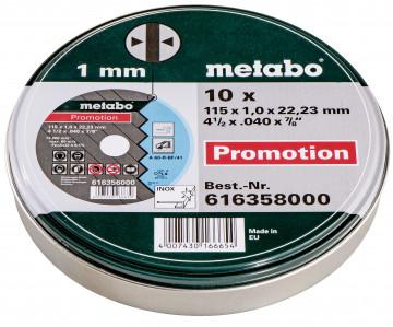 METABO - 10 ŘEZNÝCH KOTOUČŮ SP 115X1,0X22,23 INOX, TF 41 (616358000)