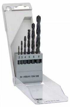 Sada vrtáků do kovu HSS-R, 6dílná, DIN 338 - 2; 3…